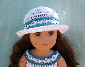 "Crochet Pattern 134 Crochet Hat Pattern for 18 inch Doll Doll Sun Hat Pattern American Dolls Outfit 18"" Doll Sun Hat Christmas Gift for Girl"