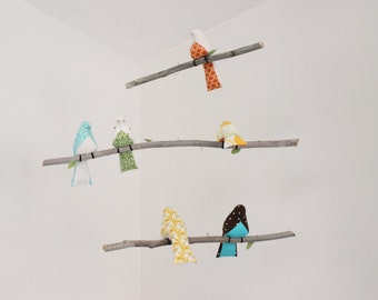 Bird Mobile - 6 Birds on 3 Tier Mobile - Multi-Colored Birds on Branches with Brown Feet - READY TO SHIP