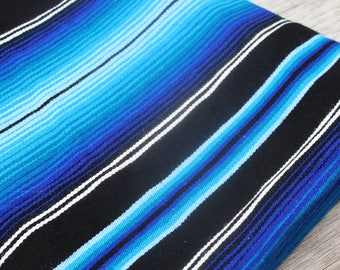 Vintage Mexican Blanket Large Blue Woven Ethnic Native Picnic Beach Blanket Boho Tribal Southwestern