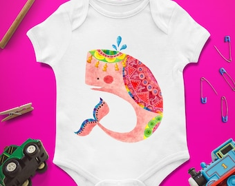 Whale baby onesie, Whale baby shower, Whale first birthday, Whale 1st birthday, Custom baby bodysuit, Whale baby, Bright, Colorful, Colored