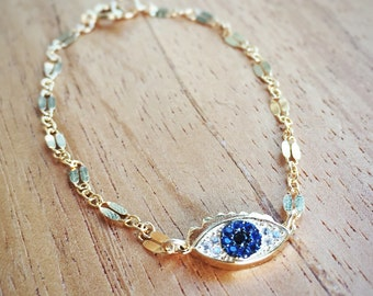 Ku'uaki Bracelet - Gold Evil Eye Bracelet, Protection Bracelet, Evil Eye Bracelet, Hamsa Bracelet, Blue Eye Bracelet, Hawaii Jewelry, Maui