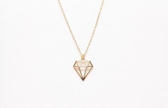Gold diamond shape necklace origami diamond necklace cute gold diamond shape necklace origami diamond necklace cute jewelry simple necklace friends gifts dianty necklace gold plated necklace aloadofball Images