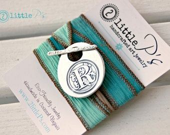 Monogram Wax Seal Jewelry, Personalized, Gift  Cursive Letter Silk Wrap Bracelet