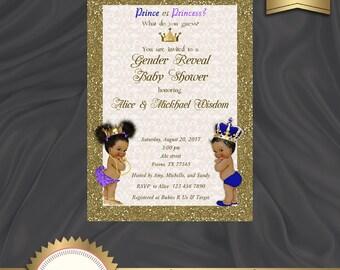 Printable Gender Reveal Invitation, Baby Reveal Invitation, Prince or Princess, Boy Or Girl Invite, Blue, Purple - Digital File, BSBG01
