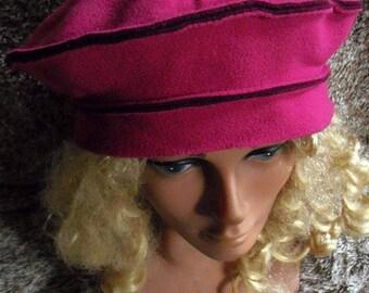 Fleece beret two-tone raspberry and plum