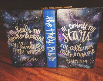 The Melissa Bible // Hand Painted Bible // Galaxy + Stardust // Purple, Blue + Black // ESV Journaling Bible