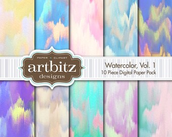 "Watercolor, Vol. 1, 10 Piece Digital Scrapbooking Paper Pack, 12""x12"", 300 dpi .jpg"