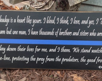 End of watch quote thin blue line Law enforcement Police Officer Corrections LE Cop wood sign