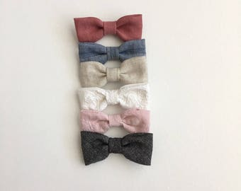 Cotton and Linen Bow Headband or Clip || Choose Your Bow || Nylon Headband