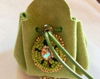 Leather and beads, small leather bag purse