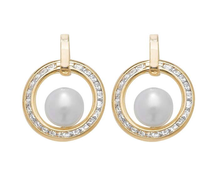 9ct Yellow Gold 12mm Channel Set Cz Circle of Life & Pearl Stud Earrings