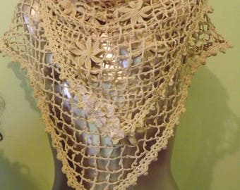 Victorian Inspired Shabby Couture Scarf Up-Cycled Crochet Ready to Ship