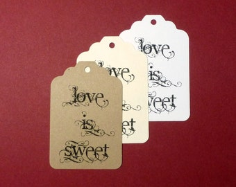 Wedding Tags - Love is Sweet . large scalloped top tags ivory kraft white wedding bridal shower gifts wedding favor tags treat bag tags