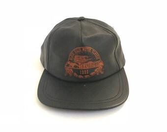 vintage LEATHER black STURGIS 1995 baseball BIKER harley davidson hat cap baseball hat