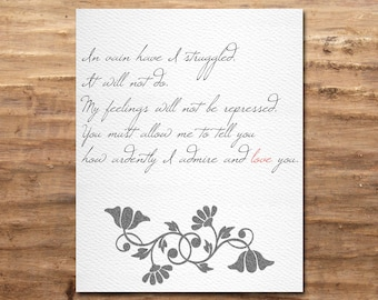 Mr Darcy Proposal - Pride and Prejudice - Jane Austen (Digital Print)