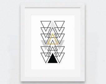 Geometric Decor, Black and Gold Abstract Art Print, Triangle Chain Art, Modern Wall Art, Abstract Digital Print, Minimal Printable Art