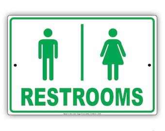 Men & Women Restrooms Restaurant Hotel Toilet Bathroom Aluminum Metal Sign