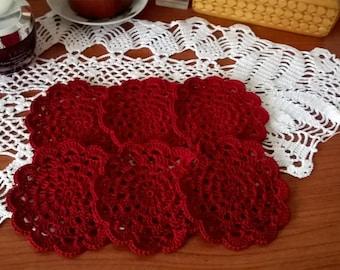Handmade crochet coasters set
