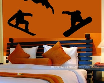 Snowboard Decal Snowboarder Sports Vinyl Wall Decal SET OF 3 DECALS Boys Room Teen Boy Room Decor Wall Art Snowboard Wall Decal
