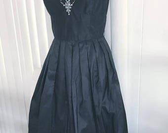Black Beauty -- Beautiful Black Silk 50's Style Dress with Rhinestones -- Size S-M