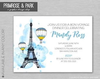French Theme Invitation • Paris Bridal Shower Invitation • Bon Voyage • Brunch Lunch Dinner • Printed Invitations • Invitation Download