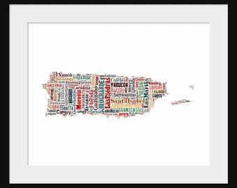 Puerto Rico Map Typography Map Poster Print Text Map - Multi-Color