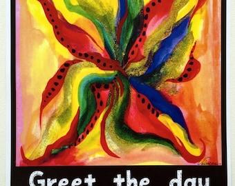 Greet The Day GRATITUDE 11x14 Inspirational Poster Motivational Print Spiritual Meditation Kitchen Decor Heartful Art by Raphaella Vaisseau