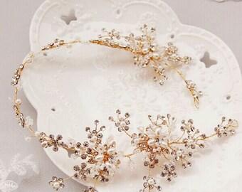 Wedding headband,crystal pearl flower headband, wedding hair hoop,bride hair accessories