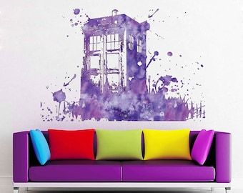 colorful Tardis Vinyl Wall Decals Doctor Who Wall Decals Doctor Who Inspired Decals vinyl decal wall decor Large Wall Sticker cik1865