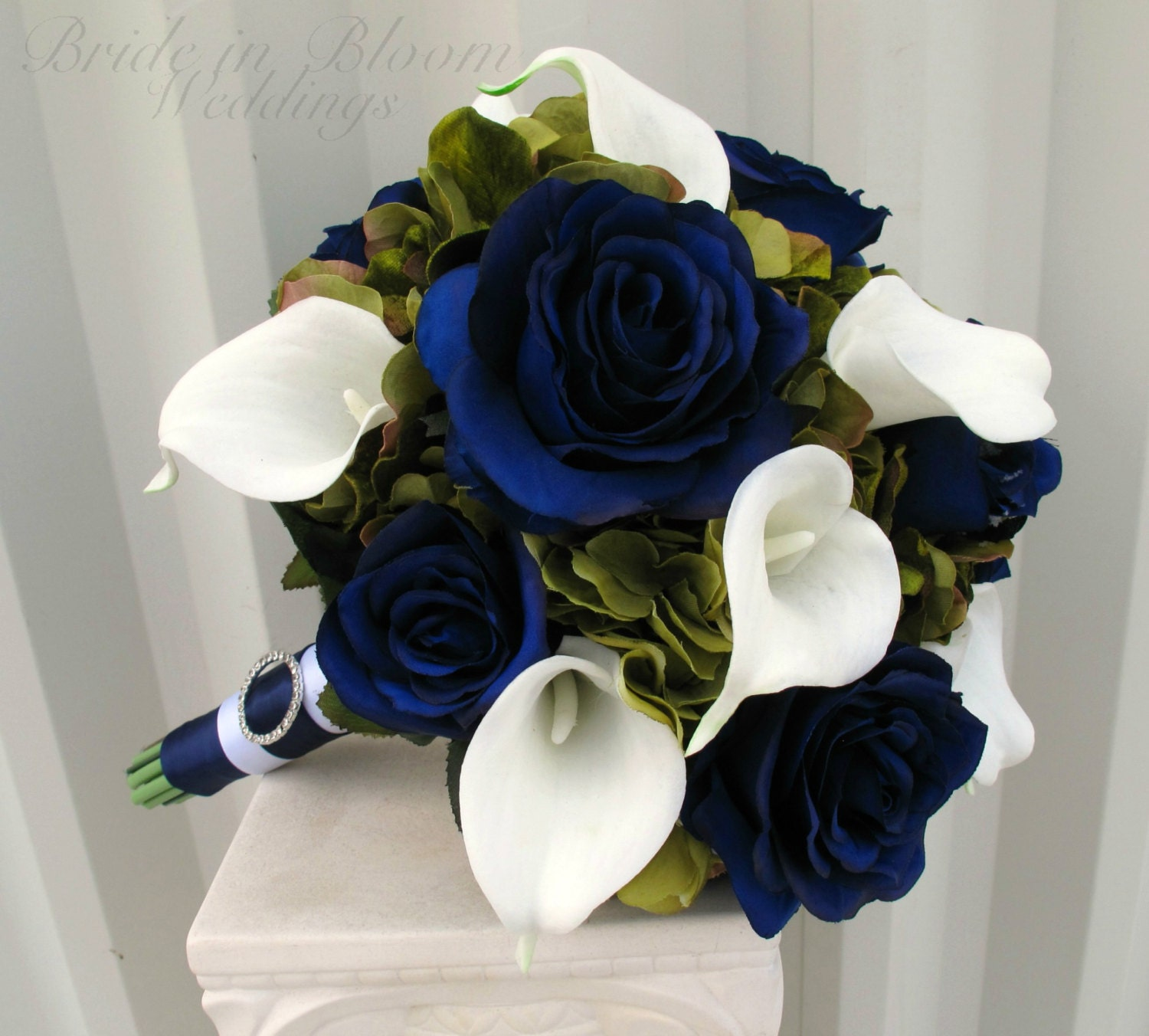 Wedding Bouquet Navy Blue Roses Sage Green White Calla Lily