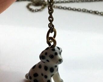 Dalmatian puppy dog ceramic necklace