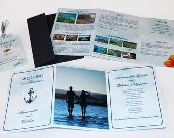 Destination Wedding Trifold Invitation with Luggage Tag RSVP - Nautical / Beach Tropical Design