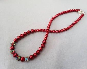 Crimson Glass Pearl Necklace