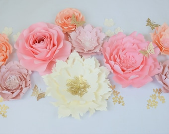 Nursery PAPER FLOWERS SET. 2 giant, 2 medium, 6 small flowers. Perfect for decorating a backdrop or wall. For any occasion. seattle