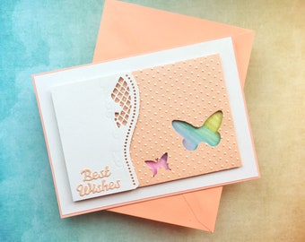 Best wishes card - elegant and classy modern design card with texture - embossed card with butterflies - white and peach stylish card