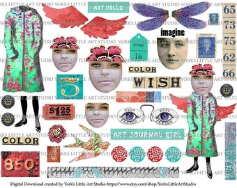 Digital Download Wish for Color Collage Art Journaling Sheet