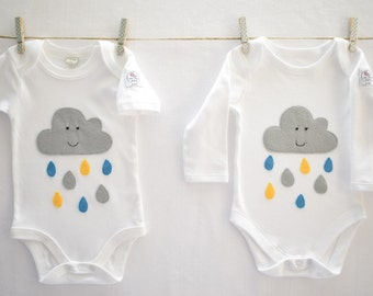 Smiley Cloud bodysuit long or short sleeved 0-1mth, 0-3mth, 3-6mths
