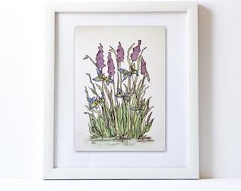 Impress Purple & Iris Original watercolour and ink Painting
