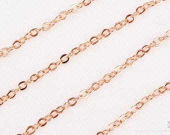 C110-GRG// Glossy Rose Gold Plated Small Cable Chain, 5M