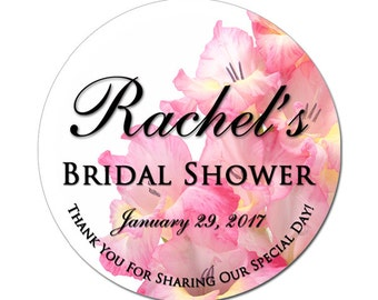 Custom Bridal Shower Labels Personalized Pink Gladiolus Flowers Round Glossy Designer Stickers