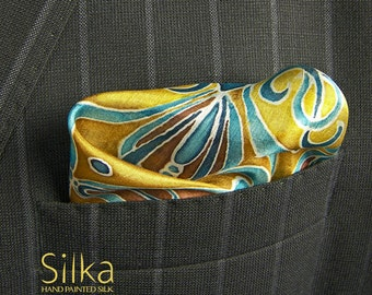 SILK pocket square blue Hand painted wedding accessories yellow OOAK Groomsmen gift boyfriend
