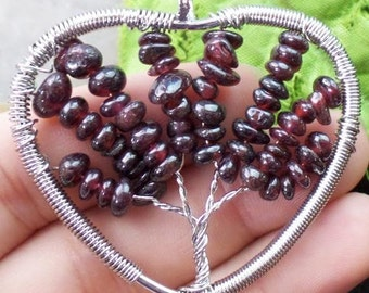 Red Garnet Tree of Life Wire Wrapped Pendant 50x48x5 mm