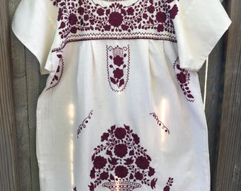 Mexican Dress, Puebla Mini Dress, Aggie Dress, Burgundy Dress, MED/LARGE