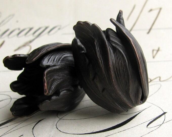 Black Tulip bead cap - black antiqued brass flowers (2 bead caps) flourish petal, blooming trumpet flower, aged noir patina