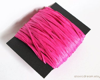 Magenta Pink Raffia Ribbon - 30/100 yards - 1/4 inch wide