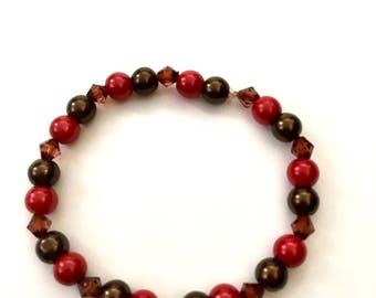Red/Brown Glass Pearl Beaded Bracelets