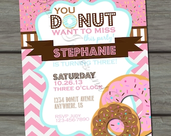 Donut Birthday Invitation, Donut Party Birthday Invitation, Pink Chevron Birthday Invitation, Donut Invitation, Pink and Brown Invitation