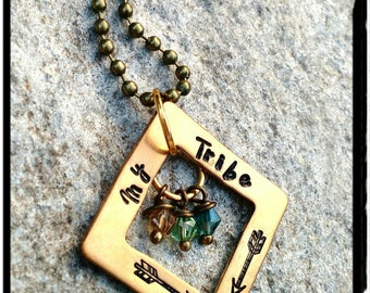 My Tribe - Bronze Square Washer Necklace -Hand Stamped//Child Birthstones// Washers//Family Name Mom Jewelry