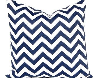 Chevron Pillow Cover - Decorative Pillow Cover - Navy Blue Pillow - 20 x 20 - Blue Pillow Shams - Nautical Decor - Sofa Pillow Covers