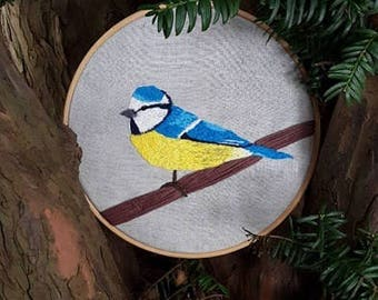 Blue Tit Embroidered Hoop